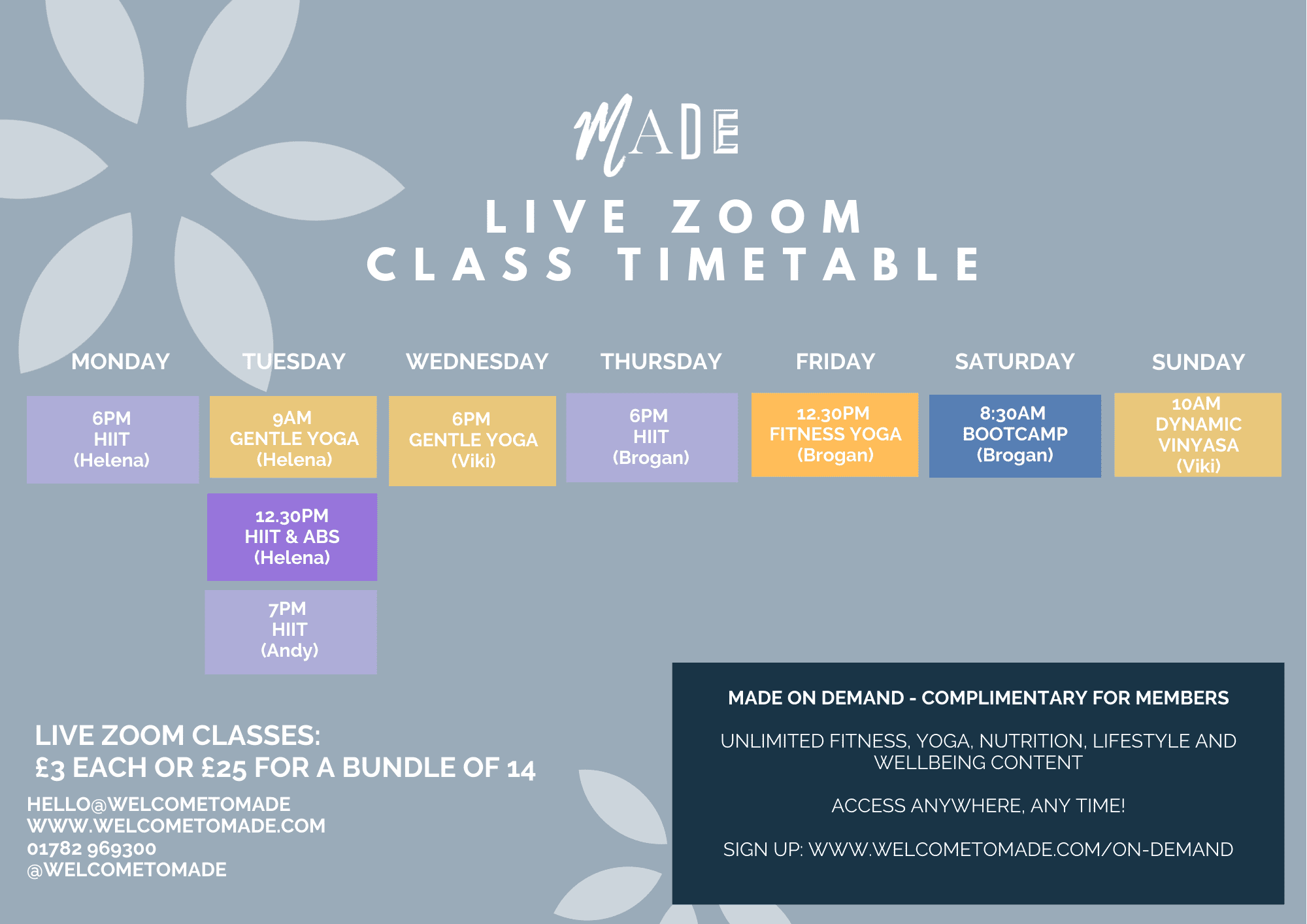 MADE CLASSES TIMETABLES