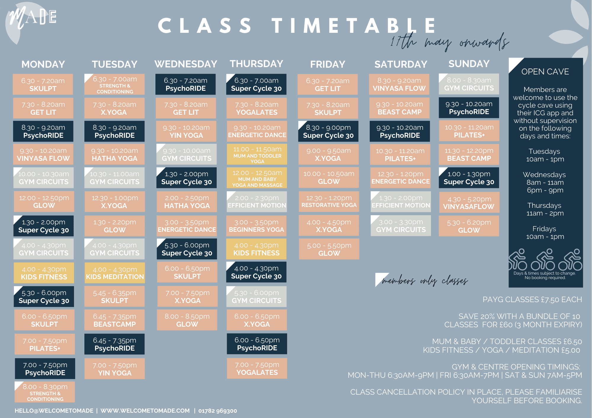 MADE HQ CLASSES TIMETABLE